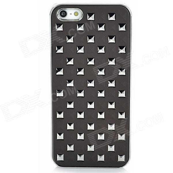 Square Pattern Protective PC Back Case for Iphone 5 - Dark Coffee