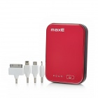 NY-02 6000mAh Portable External Battery / Handwärmer für Samsung / HTC + Weitere w / 4 Adapter - Red