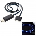 USB Data/Charging Cable w/ Blue Visible Light for iPhone 4 / 4S / iPad / The New iPad - Black + Blue