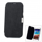 Protective Flip-Open PU Leather + Plastic Case for Samsung Galaxy Note II / N7100 - Black