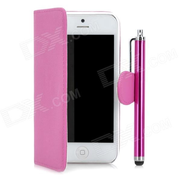Protective PU Leather Cover PC Back Case w/ Card Slots + Stylus for Iphone 5 - Deep Pink glossy leather wallet stand cover with 5 card slots for iphone 7 4 7 white