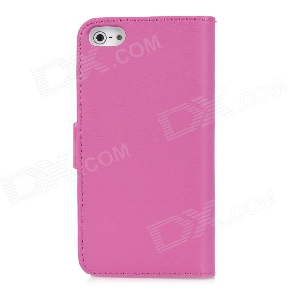 Protective PU Leather Cover PC Back Case w/ Card Slots + Stylus for Iphone 5 - Deep Pink