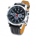 YouYou NBW0FA5207 PU Leather Band Stainless Steel Analog Quartz Wrist Watch for Men - Black