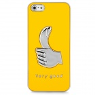 FC-06 Cool Thumb Pattern Protective PC Hard Back Case for Iphone 5 - Yellow
