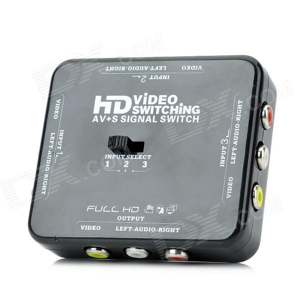A350 Video Switching AV+S Signal Switch - Black + White 4 to 1 multi source audio video av signal switch