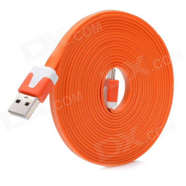 Flat USB Charging Cable w/ Micro USB V8 Port for Samsung / HTC - Orange (300CM)