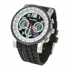 O.TAGE TGA2119 Man's Rubber Band Analog Quartz Waterproof Wrist Watch w/ Alarm - Black + White