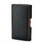 Lichee Pattern Protective PU Leather Waist Case w/ Belt Clip for Samsung N7100 - Black