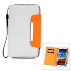 Lychee Pattern Protective PU Leather Case for Samsung Galaxy Note II N7100 - White + Yellow