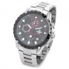 CASIMA GS-8179 Sport Man Stainless Steel Band Quartz Analog Waterproof Wrist Watch w/ Calendar