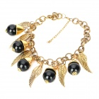 Retro Creative Acrylic Beads + Wings Style Clavicle Necklace for Women - Black + Golden