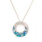 KCCHSTAR BK-4973 18K Gold Plated Alloy Chain Rhinestone Pendant Necklace - Golden + Blue