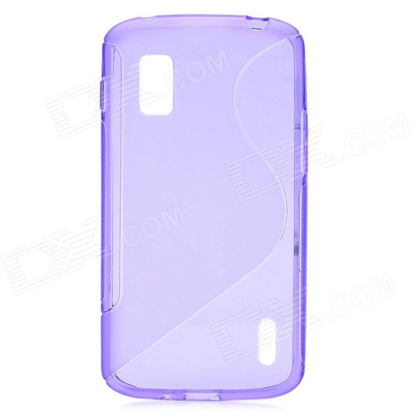 S Style Protective TPU Back Case for LG Nexus 4 E960 - Transparent Purple small holes style protective pe back case for htc one x s720e purple