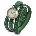 Retro Lady Cow Leather Band Quartz Analog Waterproof Bracelet Wrist Watch - Green (1 x SR626SW)