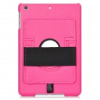 Handheld 360 Degrees Protective PU Leather + Plastic Back Case for Ipad MINI - Deep Pink