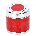 YHG001 Snake Pattern Auto Open Stainless Steel Garbage Can Style Ashtray for Car - Red + Silver