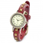 XZ-1044R Retro Leather Rivet Embedded Band Analog Quartz Wrist Watch for Women - Red + Coppery