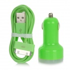 Car Cigarette Powered Charging Adapter + 30-Pin USB Data / Charging Cable for iPhone / iPad - Green