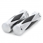 Universal DIY Motorcycle Rubber Handlebar Covers - Silver + Black (25mm / 2 PCS)