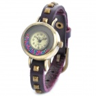 XZ-1022V Vintage Round Dial PU Leather Band Quartz Wrist Watch - Purple + Bronze (1 x LR626)