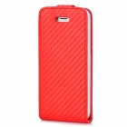 Protective Top Flip Open Twill PU Case for Iphone 5 - Red