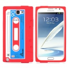 Retro Tape Pattern Protective Silicone Back Case for Samsung N7100 - Red