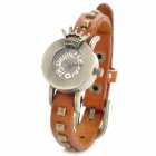 XZ-1042O Vintage Crown Style Round Dial Quartz Wrist Watch - Orange + Bronze (1 x LR626)