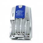 BTY-924 BTY-812B 4 x AA / AAA Battery Charger - Silver + Blue (US Plug / 100~240V)