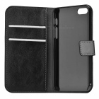 Protective PU Leather Flip Open Case w/ Card Slots for Iphone 5 - Black