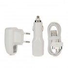 3-in-1 Car Cigarette Lighter Charger + 2-Round-Pin Plug + USB Cable for iPhone / iPad - White