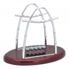 H51S Newton's Cradle Balance Balls Science Pendulum Desktop Toy - Red Brown + Silver