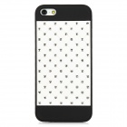 Protective Plastic Case w/ Rhinestone for iPhone 5 - Black + White