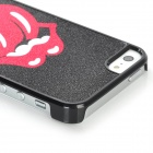 Shimmering Powder Open Mouth with Tongue Pattern Plastic Case for Iphone 5 - Black + Red
