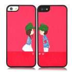 Protective Matte Shimming Powder Iphone 5 Back Case for Lovers - Black + Red (Pair)