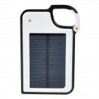 Mini Solar Powered 1450mAh Charger w/ USB + Adapter + Keychain - White + Black