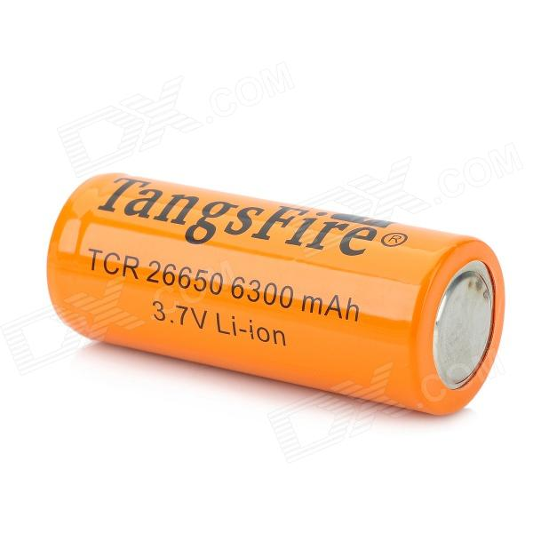 TangsFire 26650 3.7V 6300mAh Rechargeable Li-ion Battery - Orange golisi 26650 lithium ion battery protected 3 7v high drain 4300mah rechargeable battery for headlamps led flashlight torch
