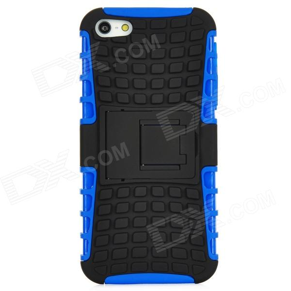 Square Grid Style Protective Plastic Back Case w/ Stand for Iphone 5 - Blue water drops style protective plastic back case for iphone 4 blue