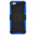 Square Grid Style Protective Plastic Back Case w/ Stand for Iphone 5 - Blue