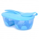 LiliPut D2-011 Portable Baby Food Separation Handling Bowl w/ PP Spoon + Cover - Blue