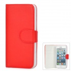 Protective PU Leather Flip Open Case w/ Card Slots / Stylus Pen for Iphone 5 - Red