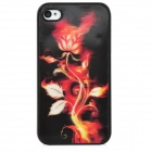 Flaming Dahlia Pattern Protective PC Back Case for iPhone 4 / 4S - Red + Black