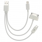 USB Male to Micro USB + 8 Pin Lightning + 30 Pin Male Data Cable - White (20.5cm)
