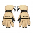 Water Resistant Men's Warming Skiing Full Finger Gloves - Black + Khaki (Pair)