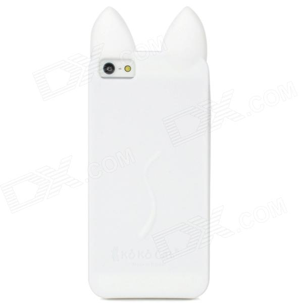 Protective Cute Ko Ko Cat Ears Silicone Case for Iphone 5 - White