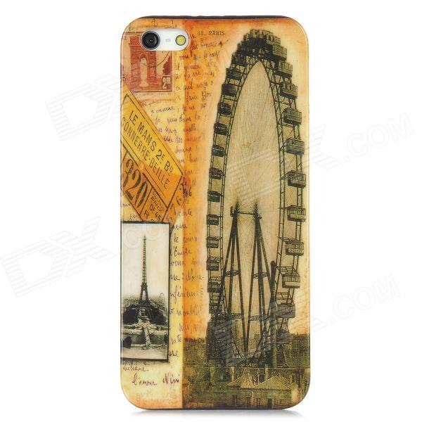 Ferris Wheel Pattern Protective ABS Plastic Case for Iphone 5 - Yellow + Black butterfly pattern protective abs plastic case for iphone 5 pink black