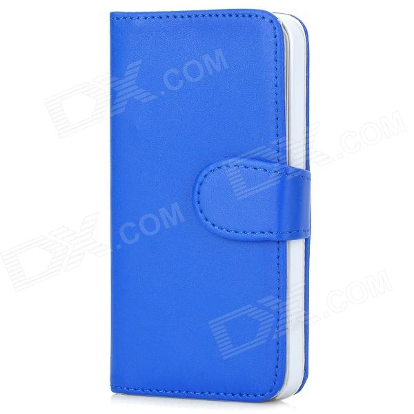 Protective PU Leather Flip Open Case w/ Card Slots / Stylus Pen for Iphone 5 - Blue protective flip open pu case w stand card slots for samsung galaxy s4 active i9295 black