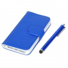 Protective PU Leather Flip Open Case w/ Card Slots / Stylus Pen for Iphone 5 - Blue