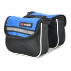 KUGAI 12009 Cycling Bicycle Front Saddle 420D + Polyester Net Double Storage Bag - Black + Blue