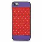 Protective Rhinestone Dotted Shinning Back Case for Iphone 5 - Purple + Red
