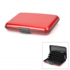 Stripe Pattern Portable Aluminum Name / Credit / Debit Card Case w/ 7-Slot - Red + Black